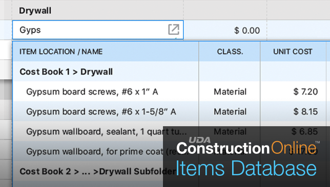 Items Database + Costbooks Now Available for  ConstructionOnline